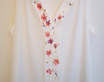 Hand painted blouse, gift for mom, shirt, hand painted, collection 2017, unique piece, wearable art, white, flowers, spring fashion, elegant