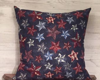 Primitive Pillow Cover - Red White and Blue Pillow - Star Pillow - Country Pillow - Patriotic Pillow - Rustic Pillow - Country Home Decor