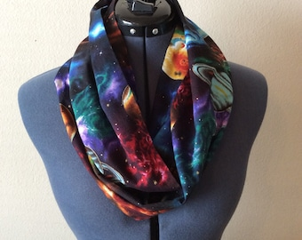 Galaxy Infinity Scarf / Planets / Stars / Outer Space / Galaxy / Universe / Infinity Scarf / Scarf / Nebula / Celestial / Science / Gift