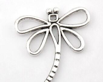 x 2 metal Dragonfly pendants/charm silver 31 x 30 mm