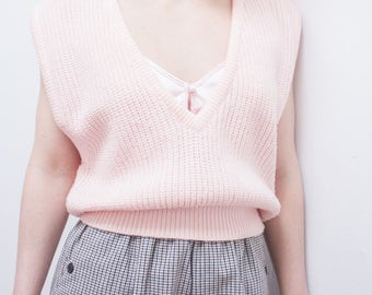 Light Pink Knit V-neck Low Cut Sleeveless Vintage 80s Sweater Cardigan Pullover Small Medium Oversized