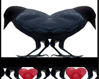 Valentine Card CROWS with Bridge of Hearts Free Shipping Ten Cards for Thirty Dollars