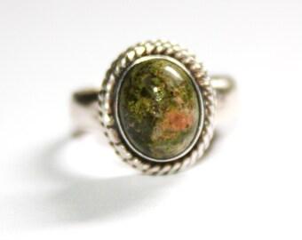 Vintage Bali Sterling Unakite Ring Size 6