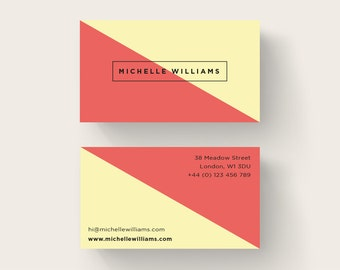 Simple Business Card Design, Printable Business Card, Premade Branding, Yellow Red Design, Unique Business Card, Calling Card