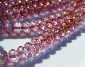 French Rose Pink and Copper Large Faceted Czech Glass Rondelles  25