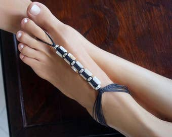 A Touch of Glamor, Black and White Barefoot Sandals, Two in One Design Foot Jewelry