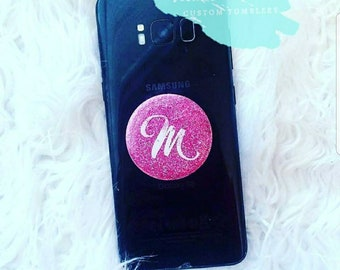 phone stand/pop socket/desk accessories/holder/grip/personalized gift/pink glitter/for her/smartphone/cell phone/birthday/customized