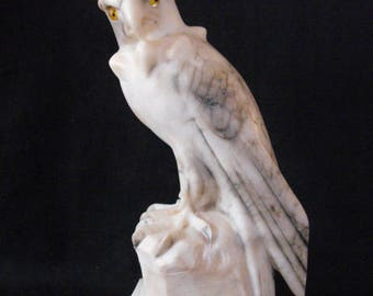 Eagle on rock white marble veined with gray Vintage bird Hawk