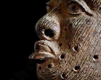 Ethnographic Art Image Series / Closeup Portrait of Bronze Ife Yoruba Head / Tribal Art–African Art / High Res Print/ Fine Art Photography