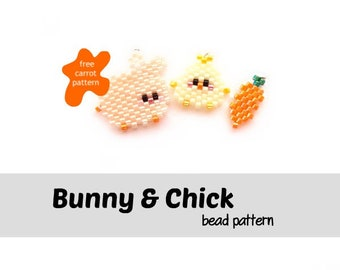 Cute Easter Bunny and Spring Chick Beading Patterns, Brick Stitch Animals