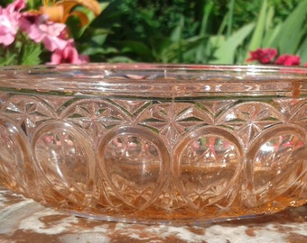 french Art Deco Depression Glass / / oval Pinkravier pink molded glass