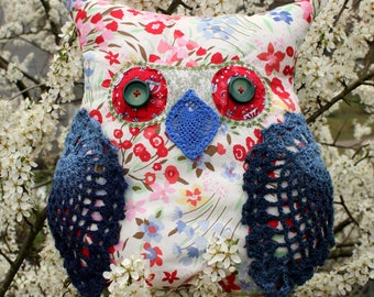 Decorative blue owl pillow Kids room decor Red white owl Stuffed owl toy Baby nursery decor Baby shower gift Throw pillows
