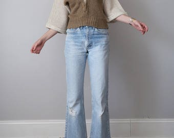 80s taupe & cream knit top sweater blouse (s - m)