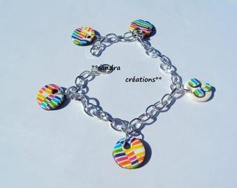 Bracelet charms pastilles multicolor stripe