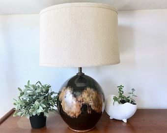 Black Round Stoneware Lamp - Large Bohemian Stoneware Ceramic Lamp - Earthy Pottery Round Table Lamp