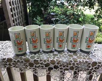 Set of 6 Vintage 1970's Era Tan, Brown and Orange Melmac Texas Ware Style Tumblers with Kitchen Scenes