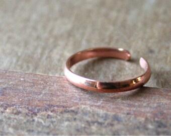 Red Copper  Toe Ring- Slim Half Round