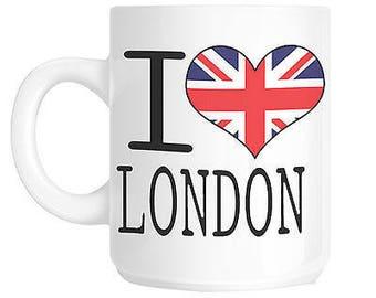 I love heart london union jack flag gift mug