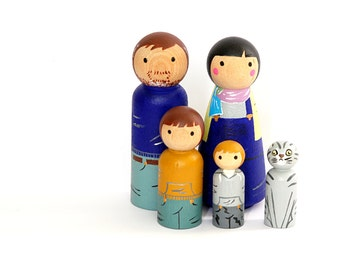 Custom HAPPY FAMILY of 5 (2 Adults and 3 children)
