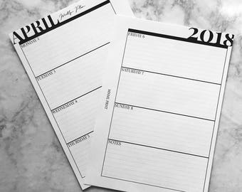 MNML PRNT WO2P Planner Insert | A5 Size | Weekly Horizontal Planner Inserts | 2018 Dated | Printable | Instant Download