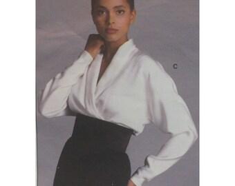 "Calvin Klein Wrap Blouse Pattern, Shirt Blouse, High Collar, Cut-on Sleeves, Vogue American Designer No. 1981, Size 12 (Bust 34"" 87cm)"