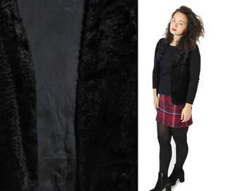 Faux fur vest, Black vest, Vintage vest, Warm vest, Vegan fur vest, Vegan vest, Grunge Vest, Outerwear Womens vest, Black fur vest / Medium