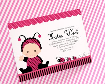 DIY PRINTABLE Invitation Card - Pink Lady Bug Baby Shower Invitation - BS815CB2a1