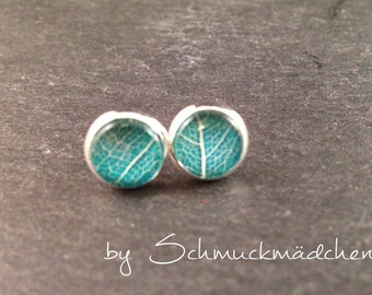 Earrings silver leaf turquoise