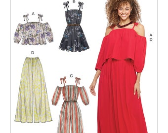 Sewing Pattern Misses' Off-the-Shoulder Top, Romper, Jumpsuit, Pull-On Pants, McCall's Pattern 7607, Summer 2017 Line