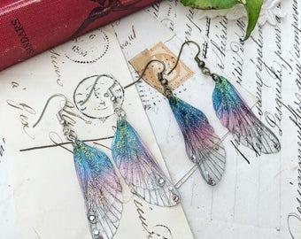 Sweet magical small purple rainbow faerie wing earrings