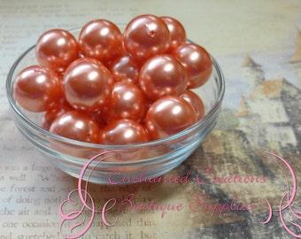 20mm Orange Acrylic Pearl Beads Qty 10