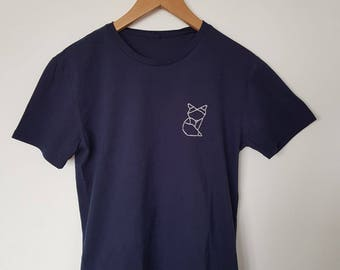 Origami Fox embroidered cotton t-shirt