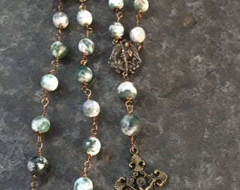 Anglican Rosary  Episcopal Rosary Peaceful Tree Agate Wire Wrapped  Prayer Bead Necklace   Confirmation Gift    orig 75 dollars now 60 sale