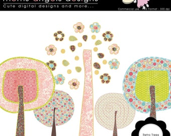 Retro Trees Cliparts - Commercial use OK