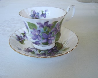 Royal Albert Purple Violet cup and saucer near mint condition (1B)