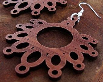 Sustainable Wooden Earrings - Dripping Loops - in Walnut