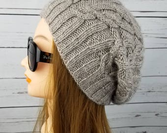 slouchy hat, beanie hat, alpaca slouchy beanie,  winter hat, knit slouch, wool, womens slouch, womens hat, womens knitted hat