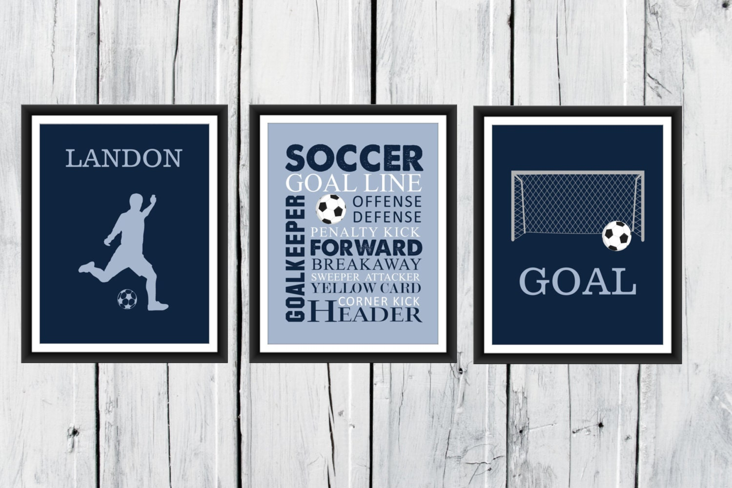 Soccer Wall Art   3 Piece Set   Goal   Soccer Player Silhouette   Soccer  Word Art CANVAS AVAILABLE