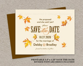 autumn trees save the date postcard fall save the date
