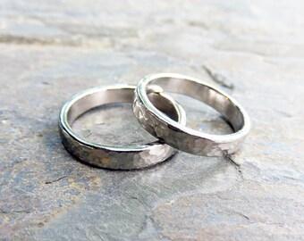 Matching Hammered 14k White Gold Wedding Band Set, 4mm Wedding Rings, Polished or Matte, Hypoallergenic 14k Palladium White or 950 Palladium