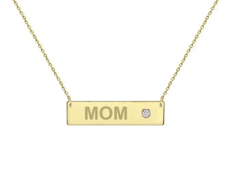 14k GOLD Birthstone  1.25 inch 14k solid gold Bar Necklace gold bar necklace personalized gift engraving bridesmaid gift Mothers day gift