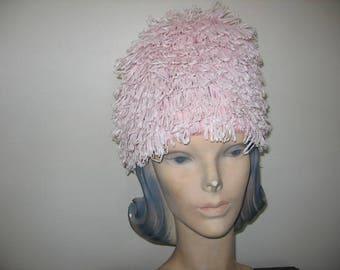 1960's Pink Raffia Beehive Cap! MOD!