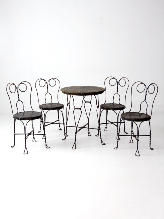 - Ice Cream Parlor Table And Chairs Vintage Black Cafe Table