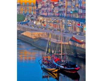 Porto, Portugal, Ribeira, River, Boats, Gallery-wrapped Fine Art Photograph on Canvas, Metal, Picture, Ready to Hang Wall Art