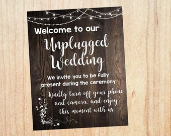 Unplugged Ceremony sign. rustic Unplugged Wedding sign. PRINTABLE  digital instant download. no cell phones sign. announcement poster
