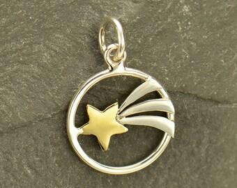Sterling Silver, Shooting Star, Star Charm, Bronze Heart, Bronze Heart Charm, Heart Charm, Silver Shooting Star, Silver Star Charm