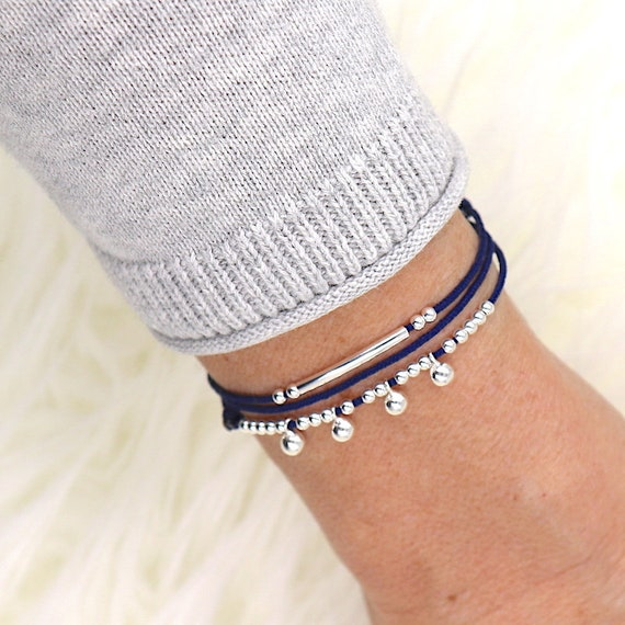 beaded cord three round beads and 925 Silver Bangle