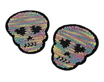 Pastel Colors Sequins Skulls Head Heart Eyes  Iron on Patch Applique PC041118