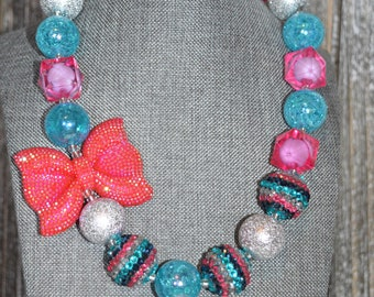 Pink and Blue Chunky Bubblegum Necklace