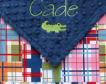 Baby Boy Crib Blanket , Handmade Personalized Minky Blanket with Name - Embroidered Madras Plaid Blanket , for Boys - Big Kids Throw 36x52
